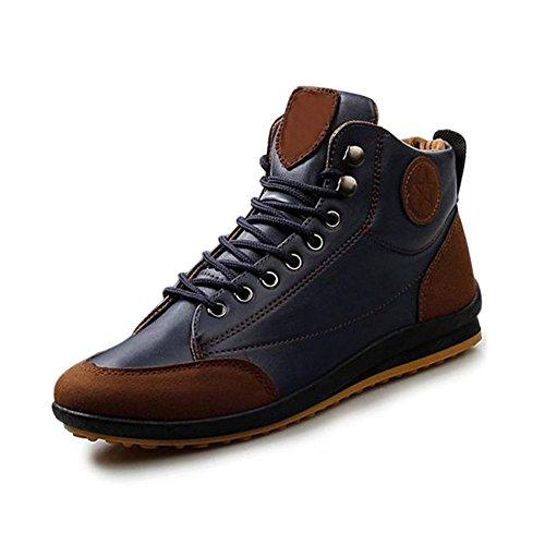Gleader Hombres ocasional invierno del Alto-top zapatos de terciopelo calidas botas impermeables Zapatillas Azul ( Tamano: 44