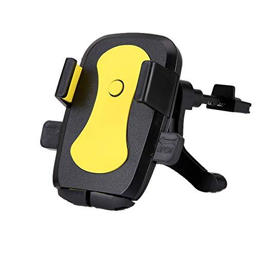 LMM HOME Autotelefonhalter Luftauslasskarte Taste Navigation Einfache Rotating Free Support Frame Auto Liefert (Color : Yellow) -