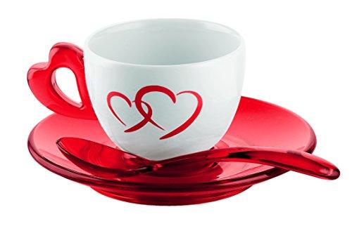 Guzzini Love Set 2 Tazzine Caffe con Piattini e Cucchiaini, Porcellana, Rosso Trasparente, 17x25x9 cm, 2 Unità