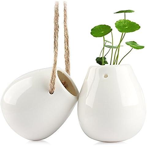 Vaso da appendere, Smater Macrame Plant Hanger ceramica decorativa vaso da fiori vaso acqua per piante vase-white (2.75h inch-2PC)