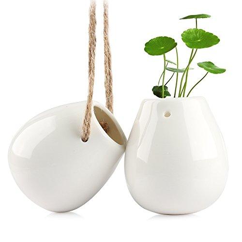 Zum Aufhängen Übertopf, Smater Makramee Pflanzenhänger Deko Keramik Blumentopf Wasser Pflanzkasten vase-white (2.75h inch-2PCS)