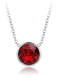 MYJS Bella Collar Bañado en Rodio con Cristales Swarovski Rojo Rubí, 40cm + Extensor de 5cm
