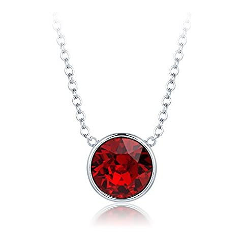 MYJS Bella Drop Necklace Rhodium Plated with Ruby Red Swarovski Crystals, Birthstone Pendant Gift 16+2