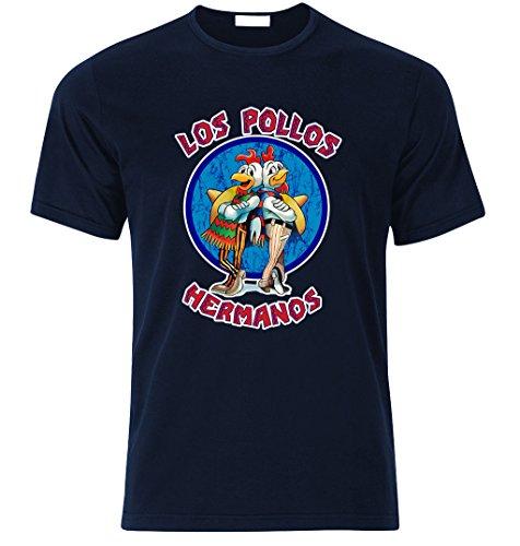 LOS POLLOS HERMANOS BREAKING BAD HEISENBERG T Shirt S/M/L/XL/XXL Weihnachtsgeschenke Xmas Navy Blau