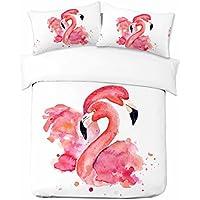 Adam Home 3D Digital Printing Bett Leinen Bettwäsche-Set Bettbezug + 1x Kissenbezug - Water Colour Flamingo Design (Alle Größen)