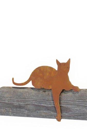 floristikvergleich.de Metallmichl Edelrost Katze als Kantenhocker Modell Katze mit Pfote nach unten 45cm – rostige Katzen für den Garten