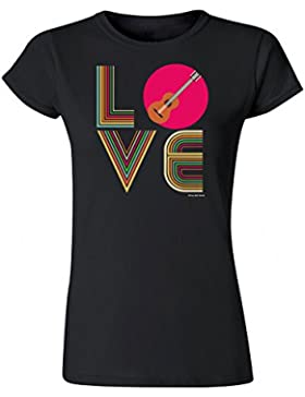 Para Mujer Senora Música Camiseta LOVE Acústico Guitarra Retro Instrumento