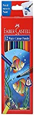 Faber-Castell Water Color Pencils with Paint Brush - Pack of 12 (Assorted)