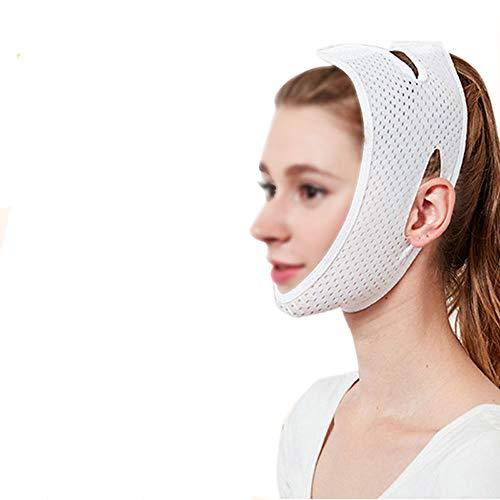 MLX Dünner Gesichtsgürtel, V-Gesichtsverband zur Doppelkinn-Dekretmaske, die festigende Schlafmaske anhebt (Color : White) - Gesichts-haut-anheben Haut, Face Lifting