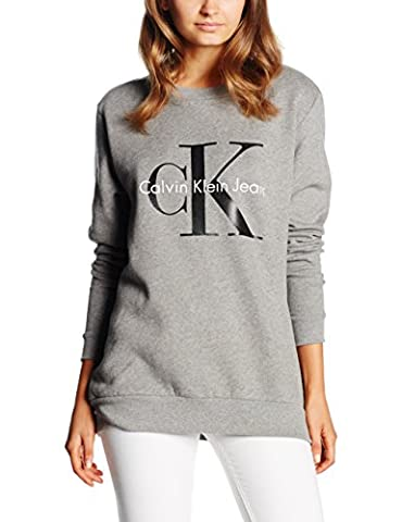 Calvin Klein Jeans Crew Neck Hwk - Pull - Femme, Gris (Light Grey Heather 038), FR: 36 (Taille fabricant: