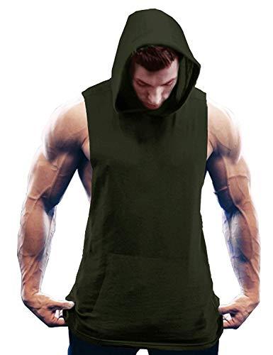 Burlady Herren Sport Tank top Gym Shirt Bodybuilding solid Color Ärmelloser t-Shirt Fitness Hoodie (Team Baumwolle Stoff Farbe)