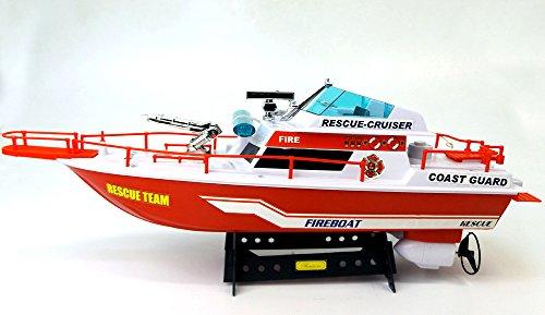 Brigamo 533 - Ferngesteuertes Boot Küstenwache Feuerwehr Schiffsmodell mit funktionierendem Blaulicht