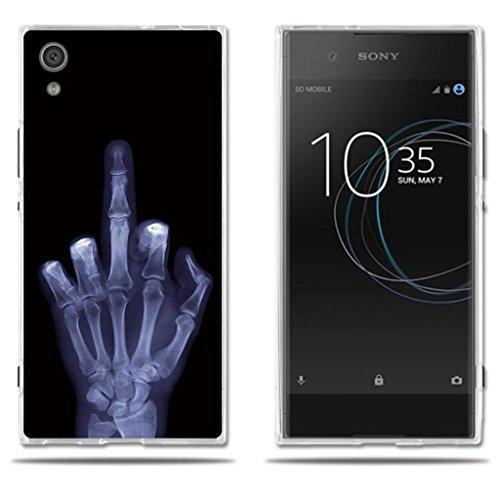 Sony Xperia XA1 Z6 Hülle, FUBAODA [Mittlerer Finger] Transparent Silikon TPU Fashion Creative 3D zeitgenössischen Chic Design Slim Fit Shockproof Flexible Vollschutz Anti Schock für Sony Xperia XA1 Z6