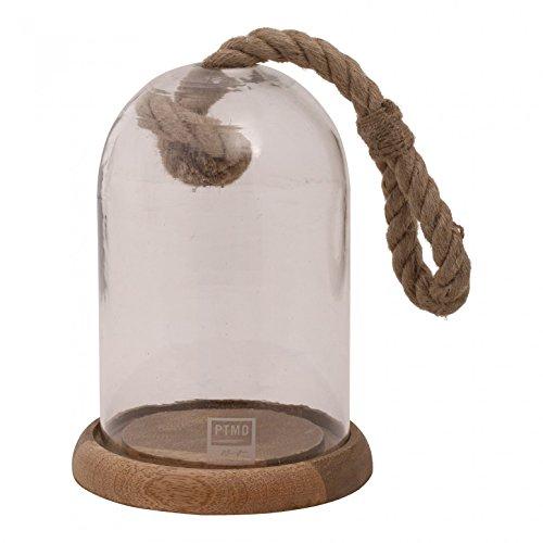 PTMD Cloche décorative en Verre avec Corde Vintage et Assiettes en Bois de Montana Bell jar on Wood 26 x 19 x 19 cm