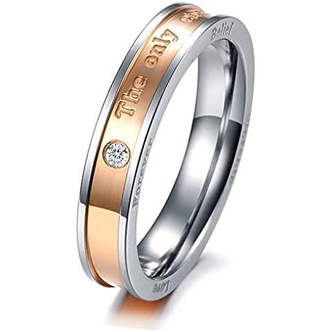 Bishilin Acciaio Inossidabile Nero | Rosa Placcato Oro Anello Fidanzamento per Anniversario Cubic Zirconio