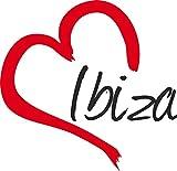 Vinilo Adhesivo para el coche o la moto ' IBIZA ' corazón Sticker, Isla española ca.9x9cm Pegatina sin fondo