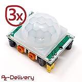 AZDelivery ⭐⭐⭐⭐⭐ 3 x HC-SR501 PIR Bewegungssensor Bewegungsmelde Modul für Arduino mit gratis eBook!