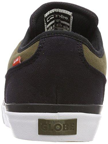 Globe Mahalo, Chaussures de skate hommes Schwarz (Black Twill/Olive)