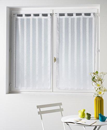 Douceur d'Intérieur Malta Voile Sable Rayé Paire Droite Polyester Blanc 60 x 120 cm