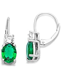 Miore Earrings Women Drop earrings    Emerald and Brilliant Cut Zirconia   925 Sterling Silver