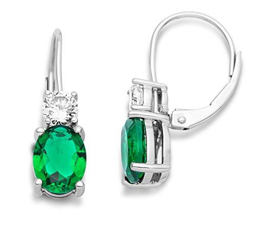 Miore Ohrringe Damen Hängend Silberfarbig 925 Sterling Silber Zirkonia Steinchen mit Smaragd