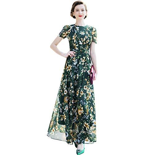 QAQBDBCKL Chiffon Sommer Strand Runway Party Kleid Grün Maxi Damen Abend Blumen Kleid Retro Lange Kleid Gedruckt Grün Abend Kleid