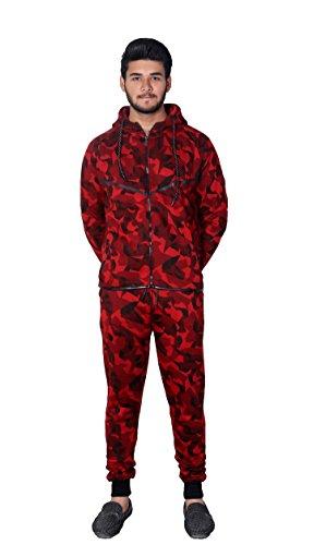 MyMixTrendz Männer Armee Camo Design Trainingsanzug Hoodie Reißverschluss Jogger 2 Stück Multi Camo Anzug (Medium, Camo Rot)