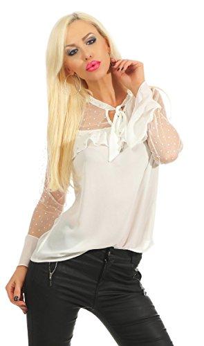 Fashion4Young 11485 Damen Chiffon Bluse Tunika Trompetenärmel Rüschen Perlen Damenbluse Sommerbluse (weiß, S-36)