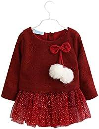 Providethebest Ragazze Kid Paillettes della Sfera della Maglia Knit Bambini  Autunno Manicotto Lungo Casuale Vestitino c8b925a7173