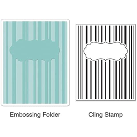 Sizzix Textured Impressions Embossing Folder with Stamp - Stripes & Frames Set by Hero Arts by Sizzix