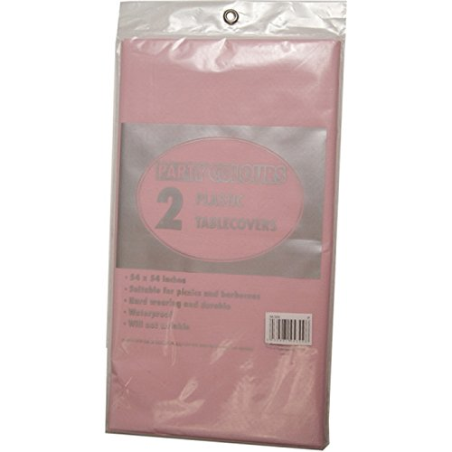 2 x PINK PLASTIC TABLE COVERS - 137cm x 137cm high quality wipeable table cloths FREE DELIVERY