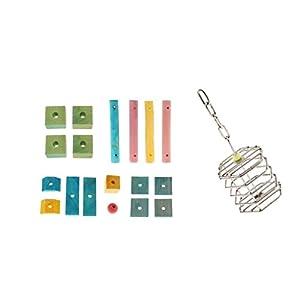 Baoblaze Set Petite Cage en Acier Inoxydable pour emballer de Herbe + Jeu de Bagues en Bois Jouet pour Perroquet Petit Oiseau
