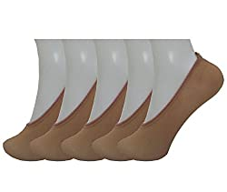 Fawn color Nylon Footcovers for Women pack of 5(Shoe Liner Transparent Socks)