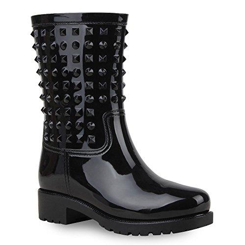 Damen Stiefeletten Gummistiefel Lack Stiefel Boots Quasten Regen Gummistiefeletten Allyear Schuhe 65590 Schwarz Niete 39 Flandell