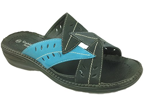 Donna Sabrina Cushion Walk Similpelle Foglia Punta Aperta Slip-on Ciabatte Con Plateau Sandali Estivi Taglie 3-8 Black/Blue