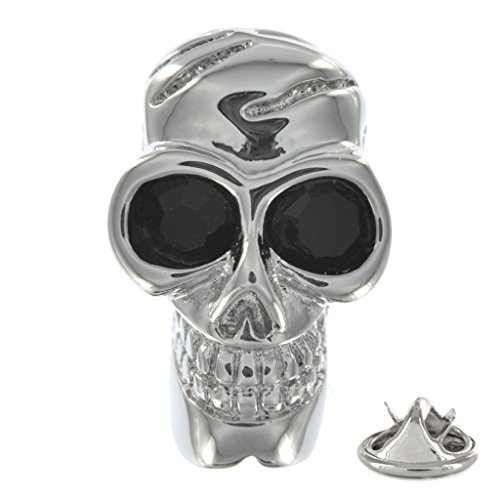 Totenkopf mit Schwarz Kristall Augen Metall-Pin ()