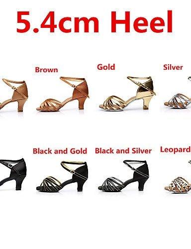ShangYi Chaussures de danse ( Noir / Marron / Argent / Or / Léopard / Autre ) - Personnalisables - Talon Personnalisé - Satin - Latine / Salsa nude
