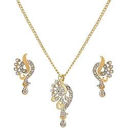 Dg Jewels Golden American Diamond Exquisite Pendant Set for Women's