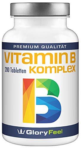 Vitamin B Komplex Hochdosiert - VERGLEICHSSIEGER 2018* - 200 Tabletten - Alle 8 B-Vitamine B1 B2 B3 B5 B6 B7 (Biotin) B9 (Folsäure) B12 - Laborgeprüft ohne unerwünschte Zusätze made in Germany