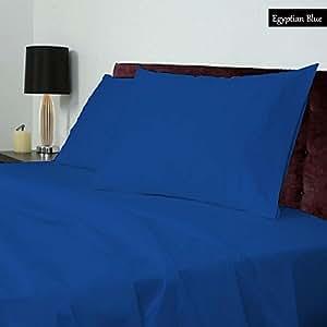 100% ägyptische Baumwolle, Fadendichte 400, 4-er Set, 27-cm-Tasche, klein, für Doppelbetten, Ägyptische Color festes Muster blau
