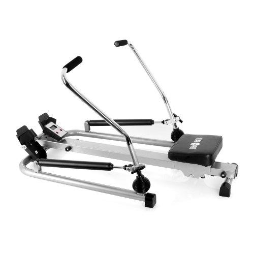 Klarfit Rowfit-10 Basic Ausdauer Rudergerät Arm- und Rudertrainer für Rücken- , Bein- und Oberkörper (inkl. Trainingscomputer, bis 100kg, gepolstert) silber