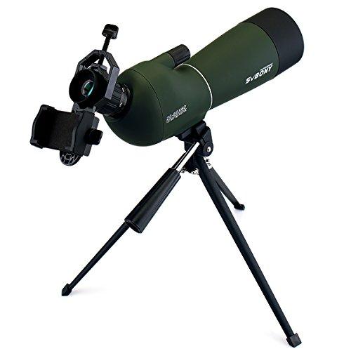 Svbony Spektiv 20-60x60 SV-28 IP65 Wasserdicht 45 Grad abgewinkelt Okular Teleskop mit Stativ und Spektiv Handy Adapter für Vogelbeobachtung Sportschützen Himmelsbeobachtung
