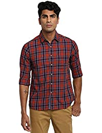RUF & TUF Checked Maroon Coloured Cotton Shirt