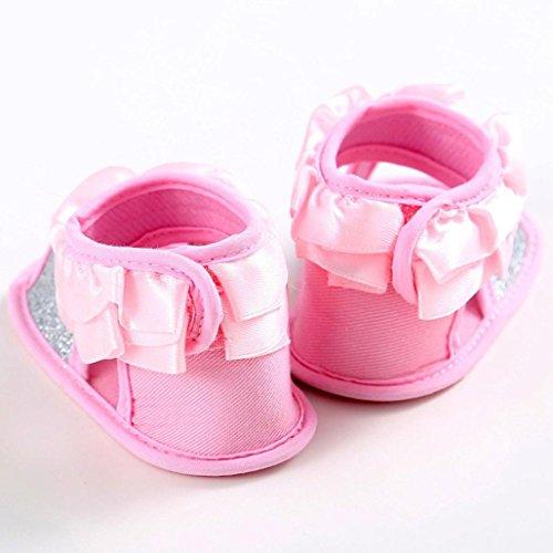 Hunpta Baby Sandalen Kleinkind Prinzessin erste Wanderer Blumenmädchen Kind Schuhe (Alter: 12 ~ 18 Monate, Rosa) Rosa