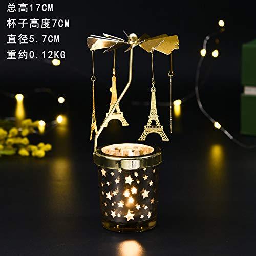 OKJK Aromatherapie-Kerzenhalter Kerzenständer Kerze Dekoration Display Abendessen Requisiten rotierenden Mädchen Mädchen Herz, Gold Eiffel Tower Starry Tasse rotieren