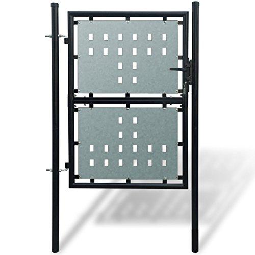 Anself cancello pedonale giardino cancello cancelletto per recinzione singolo nero 100 x 200 cm
