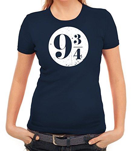 Fanartikel Fan Kult Film Damen Frauen T-Shirt Rundhals Kreis Harry 9 3/4, Größe: S,Dunkelblau