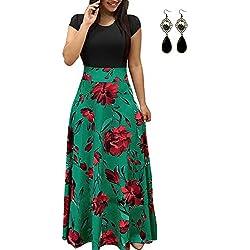 PIPIHU Mujer Vestido Fiesta Largo Manga Corta Floral Print Casual Verano Maxi Vestidos Playa Vacaciones Verde x-Large