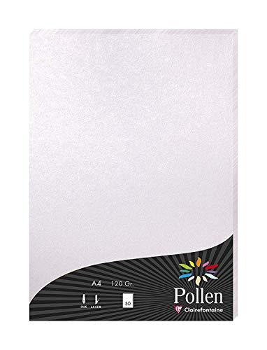 Clairefontaine 4199C Packung mit 50 Blatt Pollen, DIN A4, 210 x 297 mm, 120g, Perlmutt Rosa