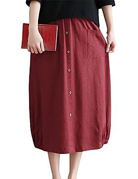 Mujeres Transpirable Vintage Color Sólido Cintura Elástica Falda Tamaño Grande